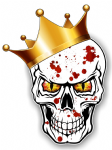 GOTHIC King of SKULL Skulls With RED & YELLOW Evil Eyes and Crown Blood Splatter Motif External Vinyl Car Sticker 115x85mm